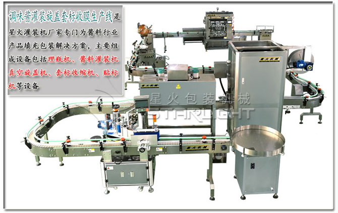 星火调味酱灌装旋盖套标收膜生产线介绍及设备展示